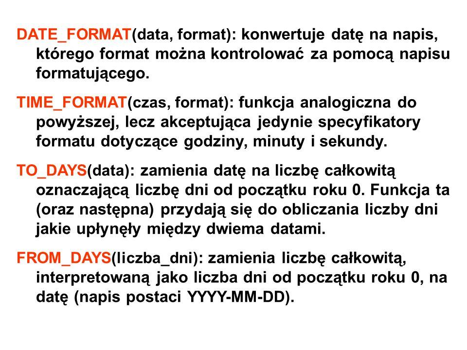 DATE_FORMAT(data, format): konwertuje datę na napis, którego format można kontrolować za pomocą napisu formatującego.