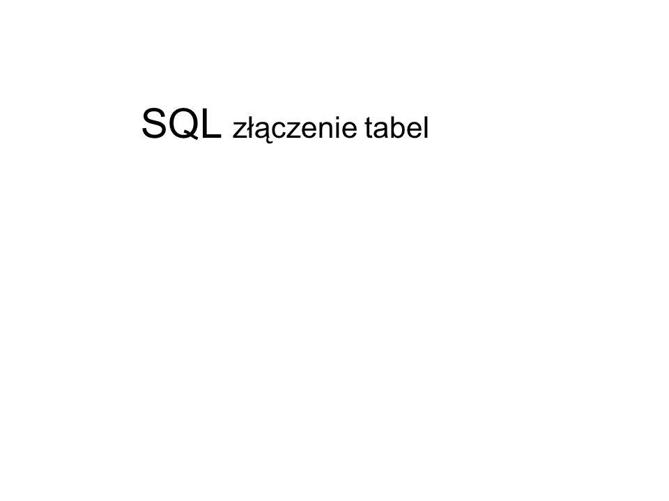 SQL złączenie tabel