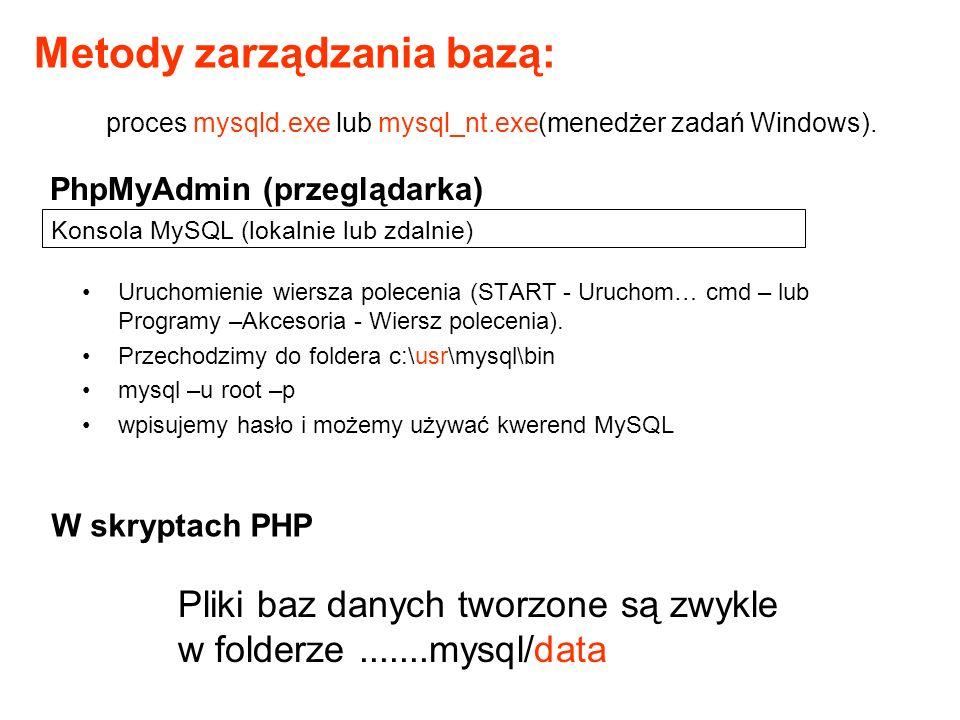 Konsola MySQL (lokalnie lub zdalnie)