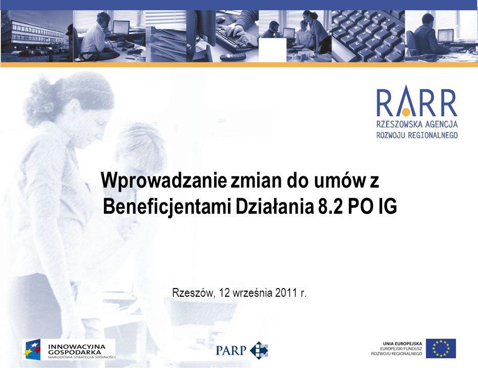 Wprowadzanie zmian do umów z Beneficjentami Działania 8.2 PO IG