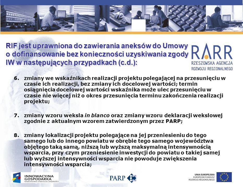 RIF jest uprawniona do zawierania aneksów do Umowy o dofinansowanie bez konieczności uzyskiwania zgody IW w następujących przypadkach (c.d.):