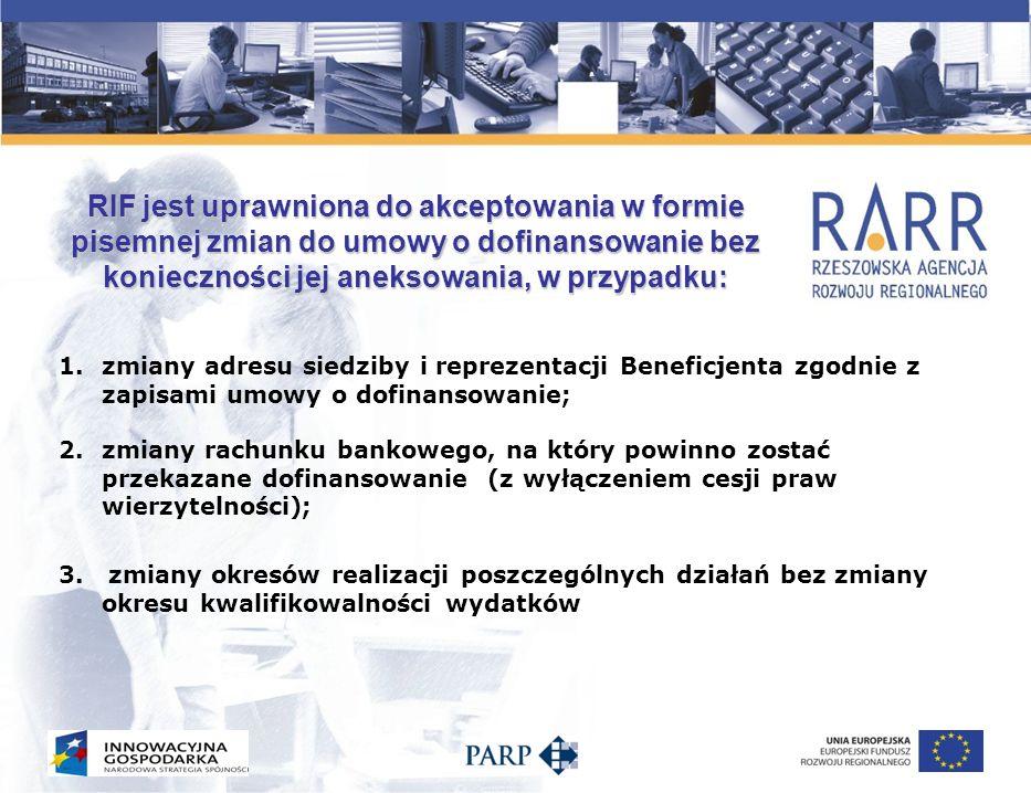 RIF jest uprawniona do akceptowania w formie pisemnej zmian do umowy o dofinansowanie bez konieczności jej aneksowania, w przypadku: