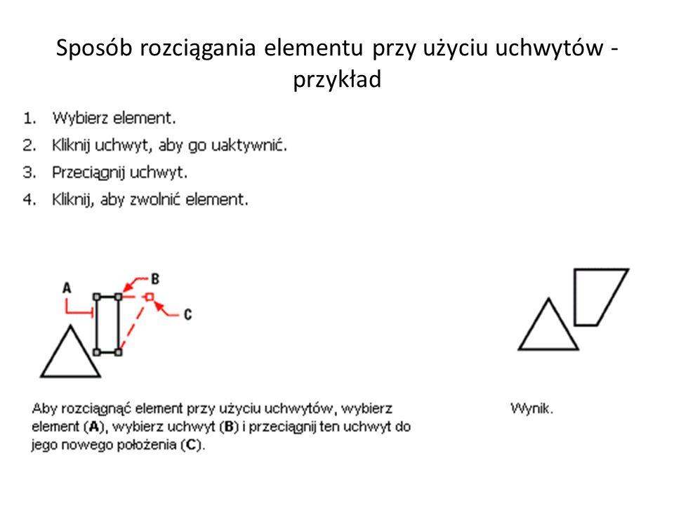 Sposób rozciągania elementu przy użyciu uchwytów - przykład