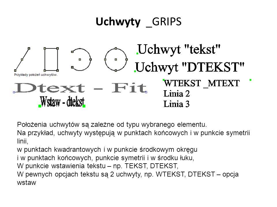 Uchwyty _GRIPS Położenia uchwytów są zależne od typu wybranego elementu.
