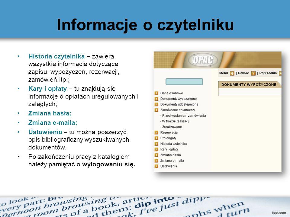 Informacje o czytelniku