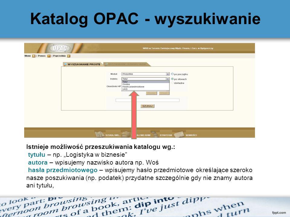Katalog OPAC - wyszukiwanie