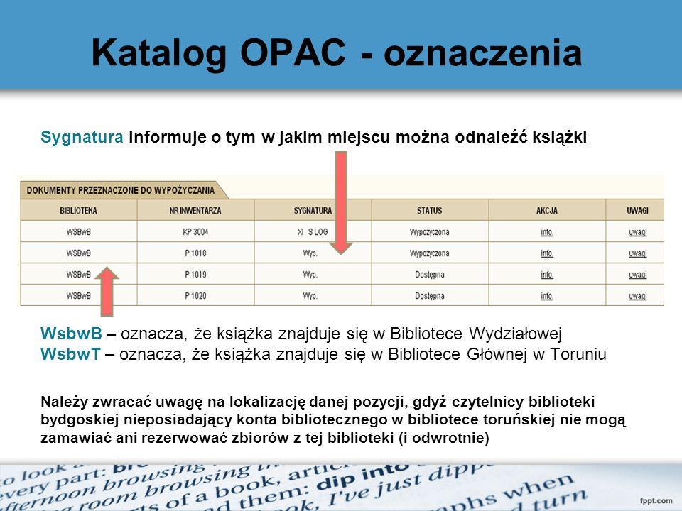 Katalog OPAC - oznaczenia
