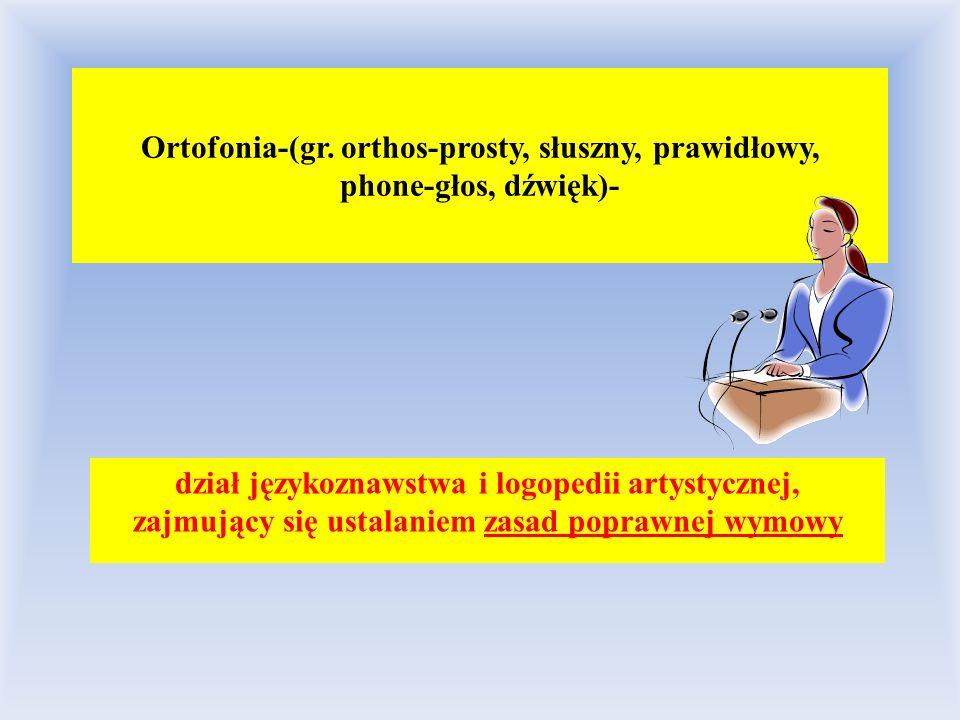 Ortofonia-(gr. orthos-prosty, słuszny, prawidłowy, phone-głos, dźwięk)-