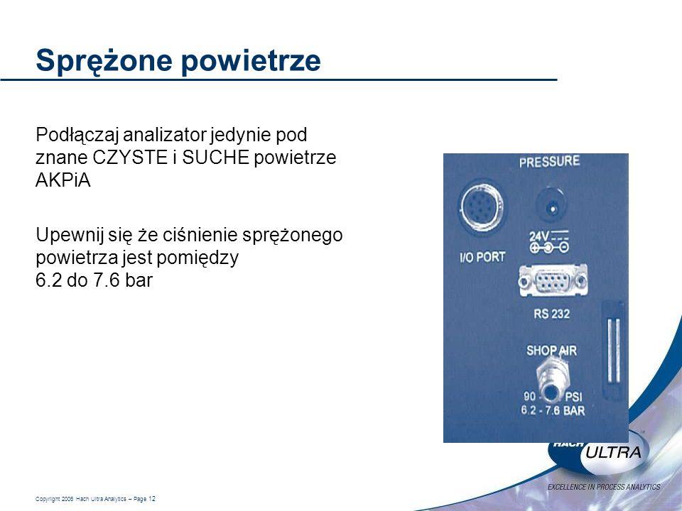 Sprężone powietrze Podłączaj analizator jedynie pod znane CZYSTE i SUCHE powietrze AKPiA.