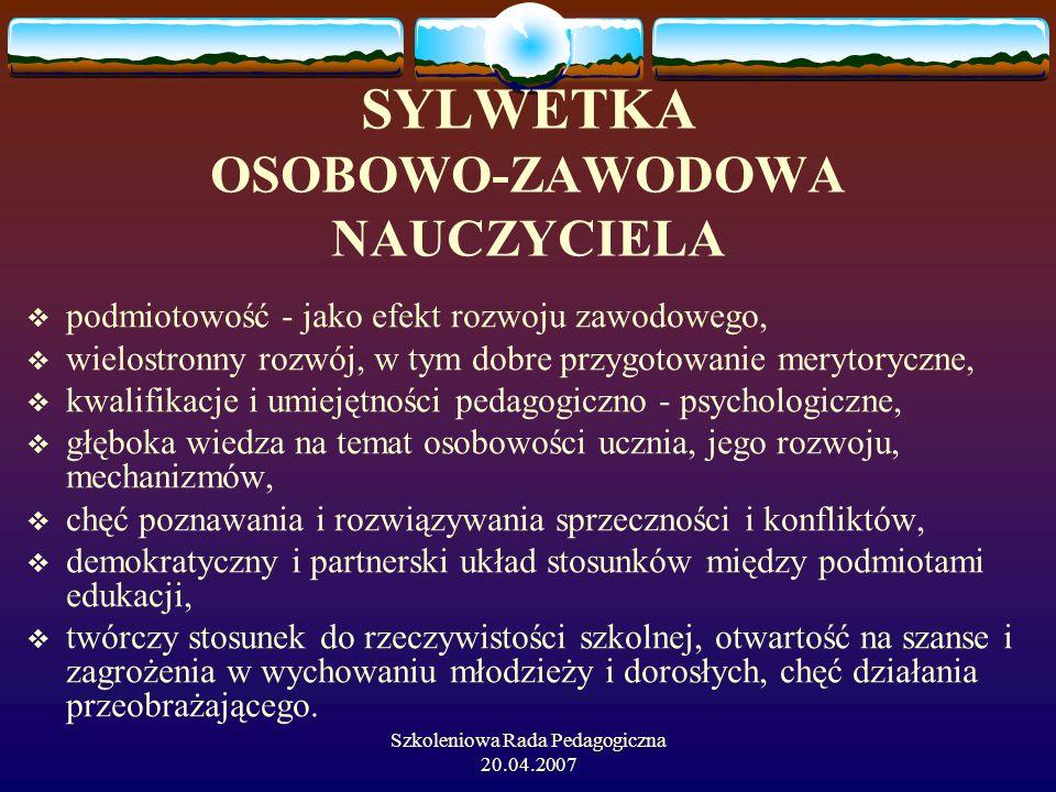 SYLWETKA OSOBOWO-ZAWODOWA NAUCZYCIELA