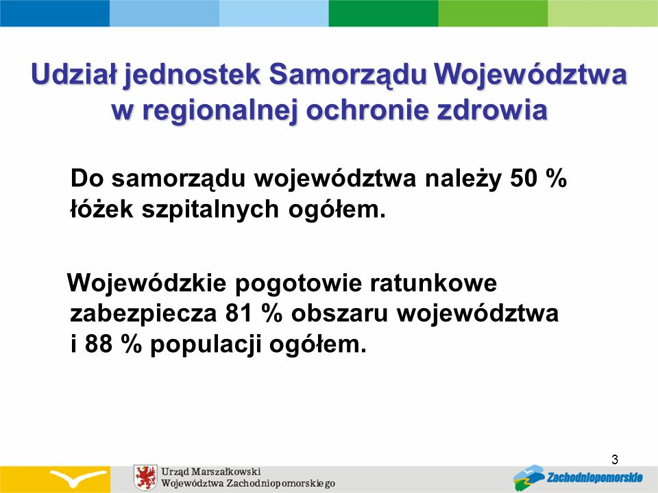 Udział jednostek Samorządu Województwa w regionalnej ochronie zdrowia