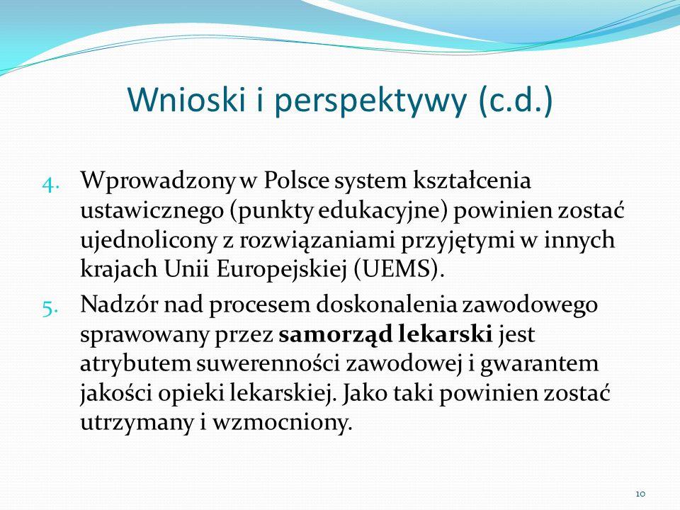 Wnioski i perspektywy (c.d.)