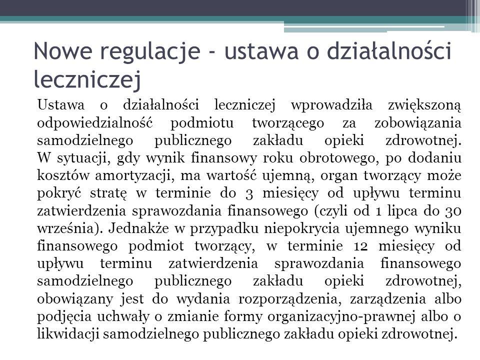 Nowe regulacje - ustawa o działalności leczniczej