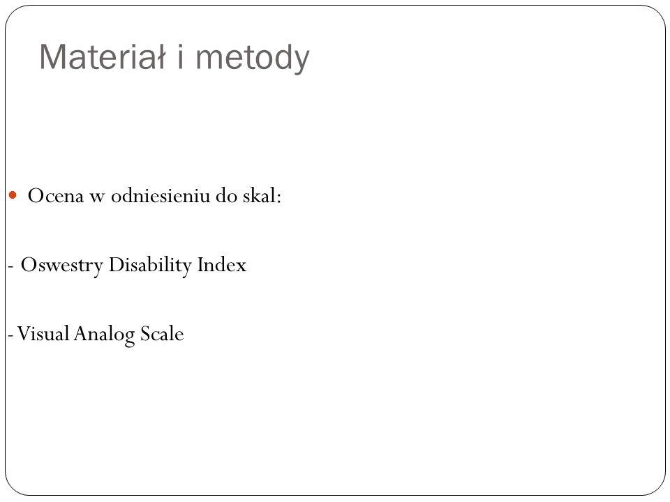 Materiał i metody Ocena w odniesieniu do skal: