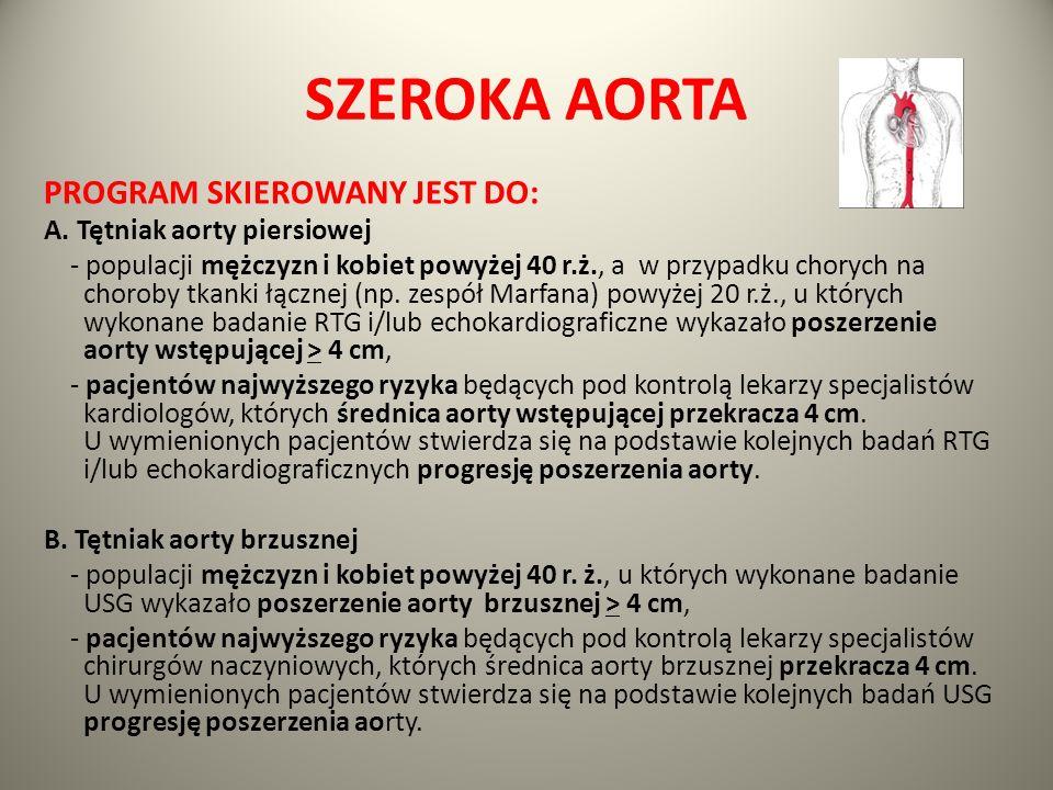 SZEROKA AORTA PROGRAM SKIEROWANY JEST DO: A. Tętniak aorty piersiowej