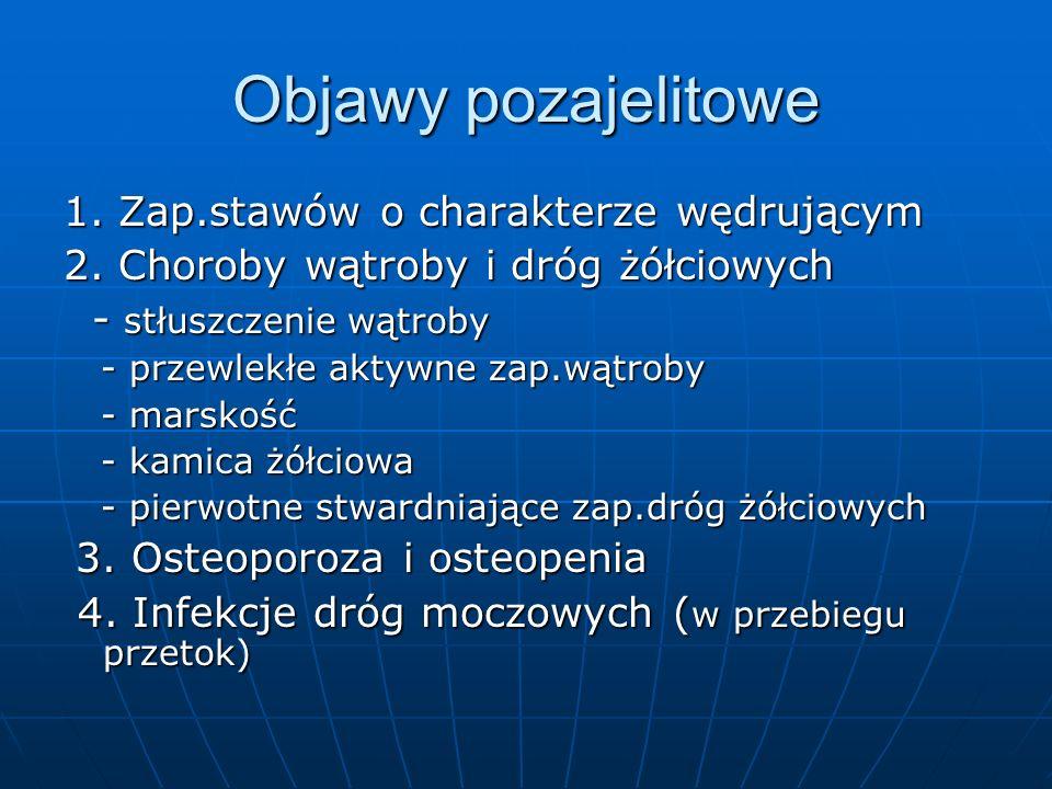 Objawy pozajelitowe 1. Zap.stawów o charakterze wędrującym