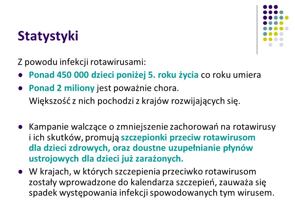 Statystyki Z powodu infekcji rotawirusami: