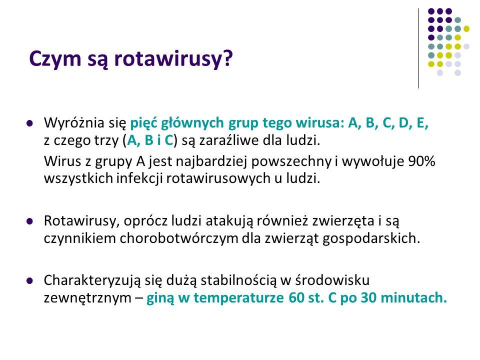 Czym są rotawirusy Wyróżnia się pięć głównych grup tego wirusa: A, B, C, D, E, z czego trzy (A, B i C) są zaraźliwe dla ludzi.