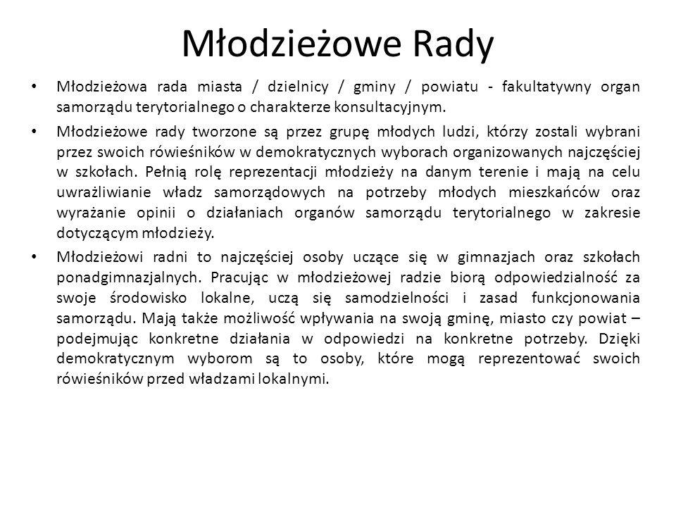 Młodzieżowe Rady Młodzieżowa rada miasta / dzielnicy / gminy / powiatu - fakultatywny organ samorządu terytorialnego o charakterze konsultacyjnym.