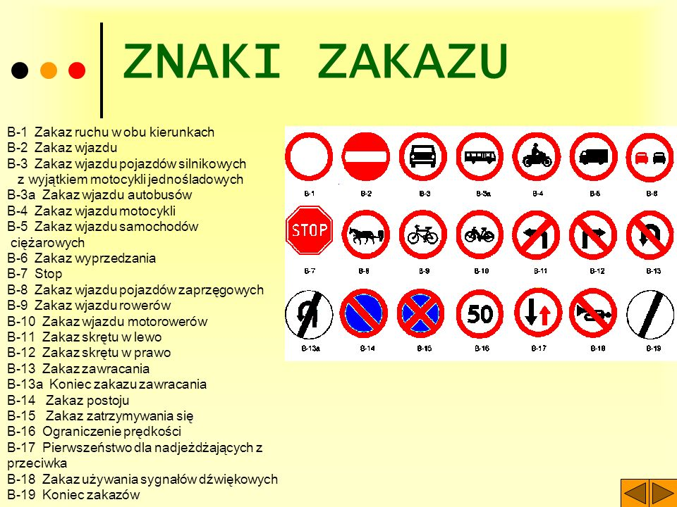 ZNAKI ZAKAZU B-1 Zakaz ruchu w obu kierunkach B-2 Zakaz wjazdu