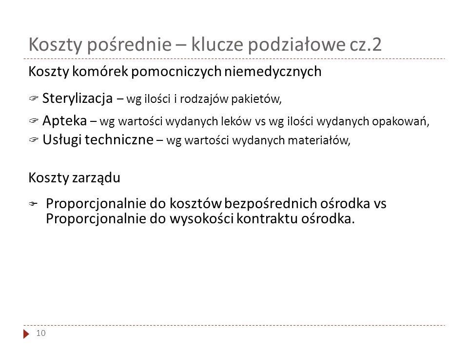 Koszty pośrednie – klucze podziałowe cz.2