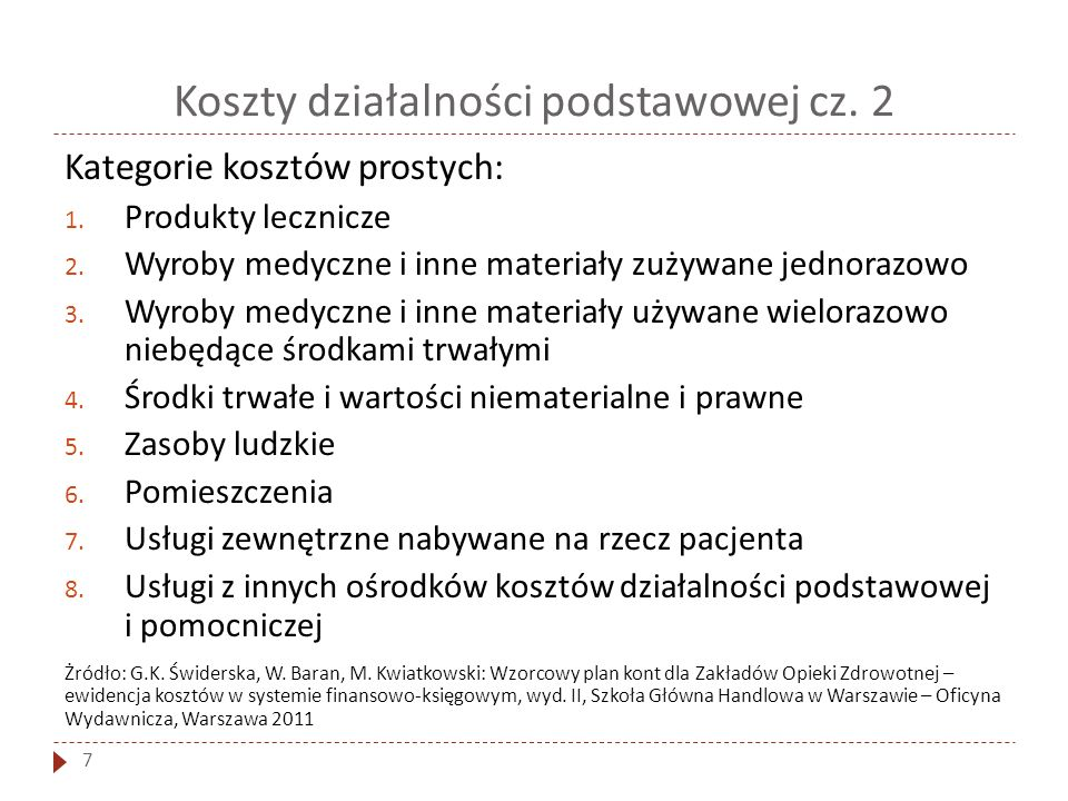 Koszty działalności podstawowej cz. 2