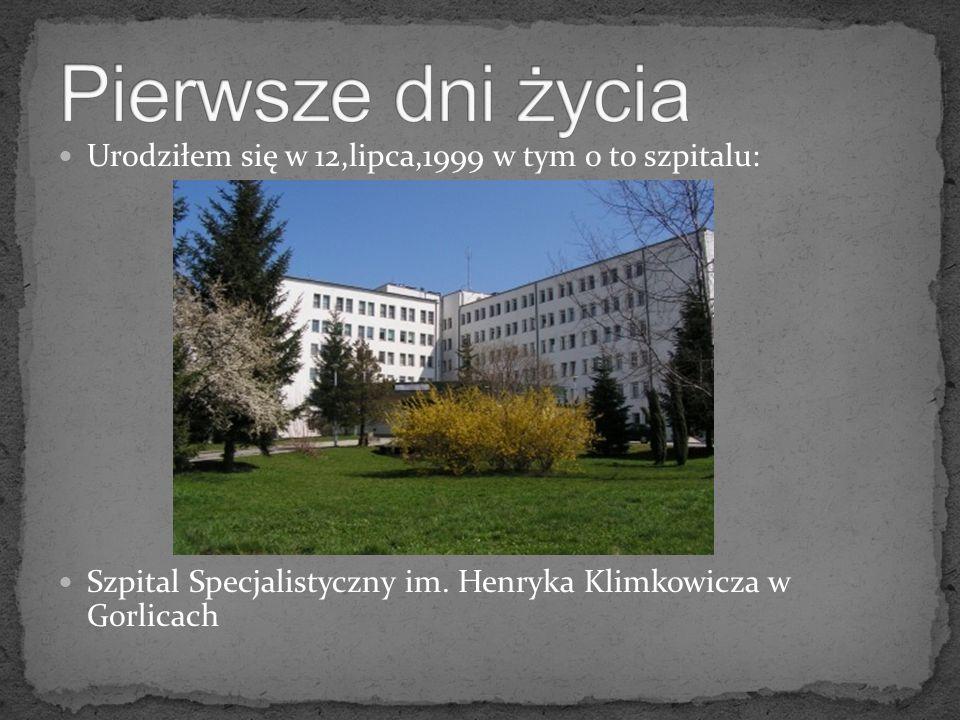 Pierwsze dni życia Urodziłem się w 12,lipca,1999 w tym o to szpitalu: