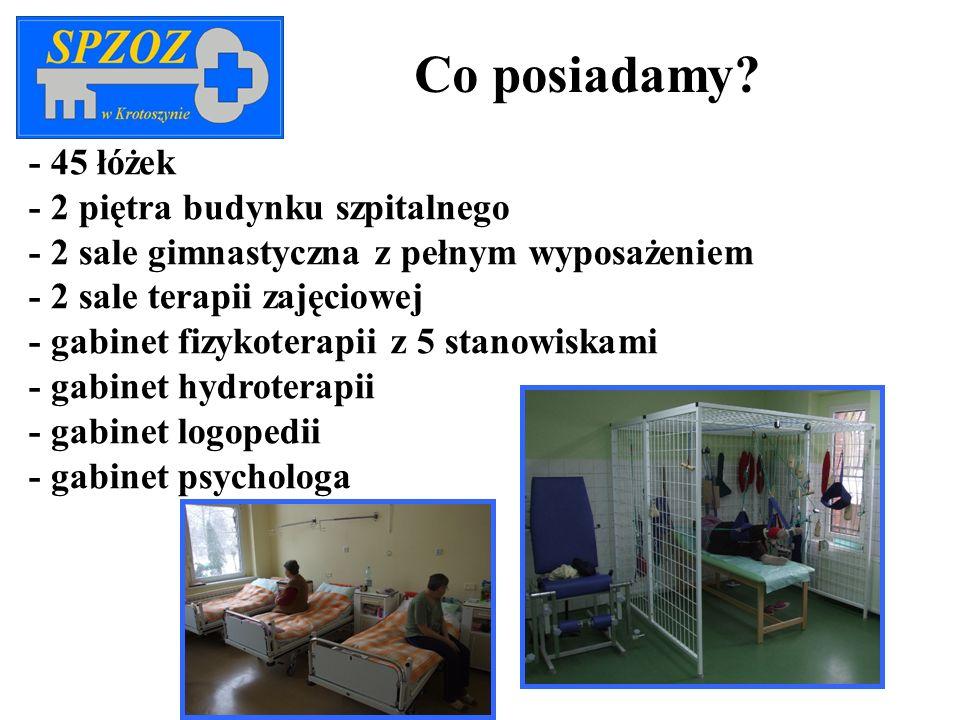 Co posiadamy - 45 łóżek - 2 piętra budynku szpitalnego