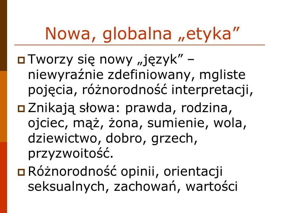 """Nowa, globalna """"etyka Tworzy się nowy """"język – niewyraźnie zdefiniowany, mgliste pojęcia, różnorodność interpretacji,"""
