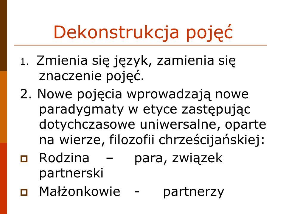 Dekonstrukcja pojęć 1. Zmienia się język, zamienia się znaczenie pojęć.