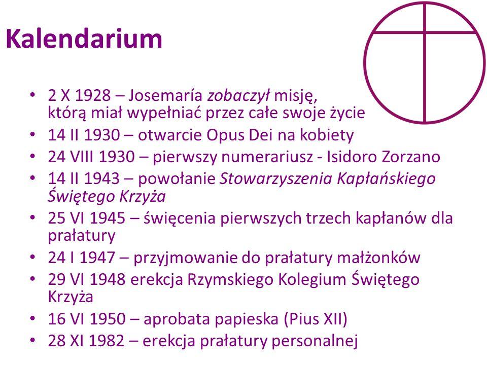 Kalendarium 2 X 1928 – Josemaría zobaczył misję, którą miał wypełniać przez całe swoje życie. 14 II 1930 – otwarcie Opus Dei na kobiety.