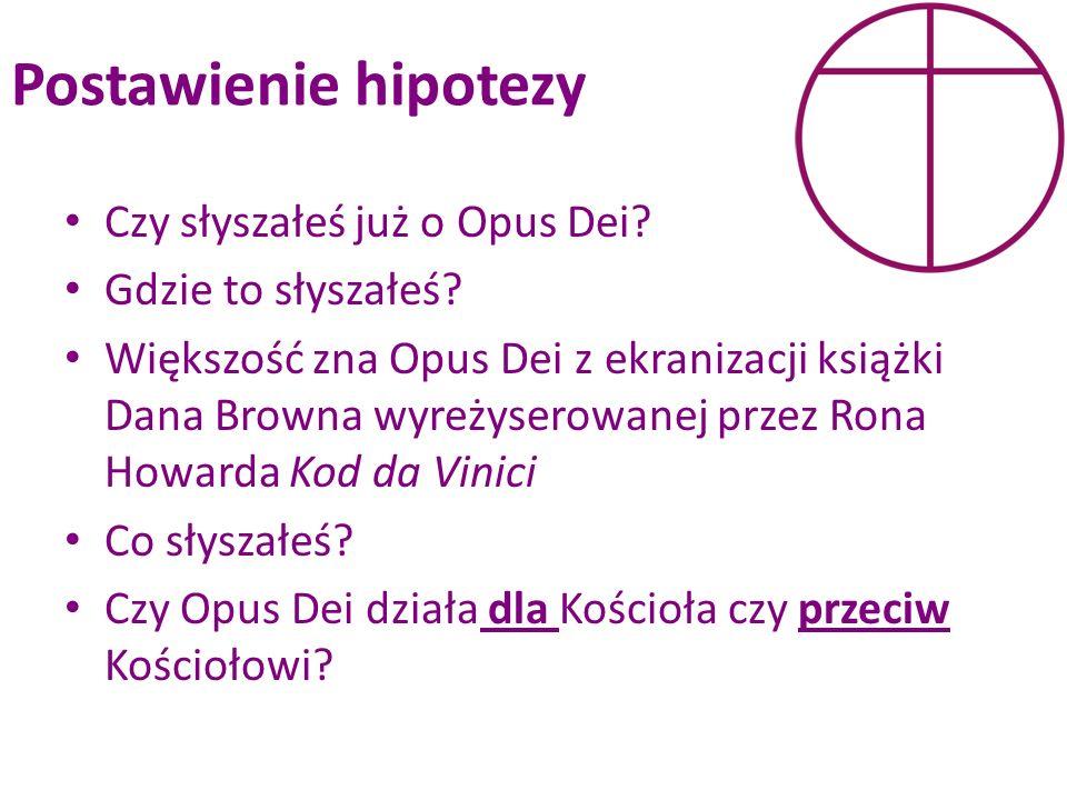 Postawienie hipotezy Czy słyszałeś już o Opus Dei Gdzie to słyszałeś