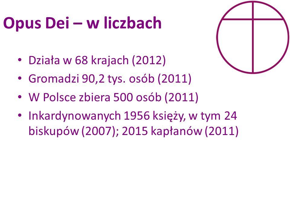 Opus Dei – w liczbach Działa w 68 krajach (2012)