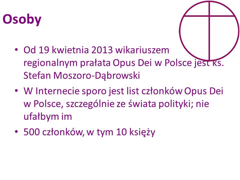 Osoby Od 19 kwietnia 2013 wikariuszem regionalnym prałata Opus Dei w Polsce jest ks. Stefan Moszoro-Dąbrowski.