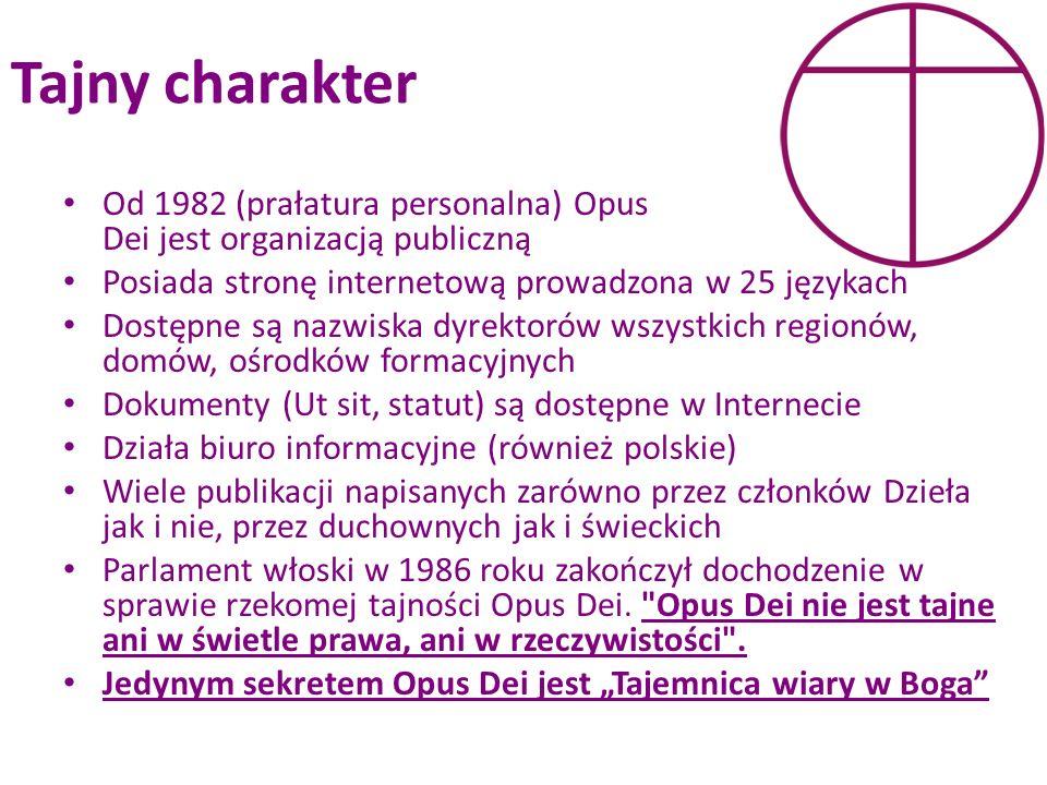 Tajny charakter Od 1982 (prałatura personalna) Opus Dei jest organizacją publiczną. Posiada stronę internetową prowadzona w 25 językach.