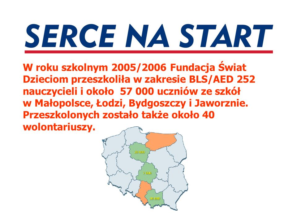 W roku szkolnym 2005/2006 Fundacja Świat Dzieciom przeszkoliła w zakresie BLS/AED 252 nauczycieli i około 57 000 uczniów ze szkół w Małopolsce, Łodzi, Bydgoszczy i Jaworznie.