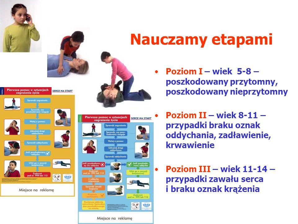 Nauczamy etapami Poziom I – wiek 5-8 – poszkodowany przytomny, poszkodowany nieprzytomny.