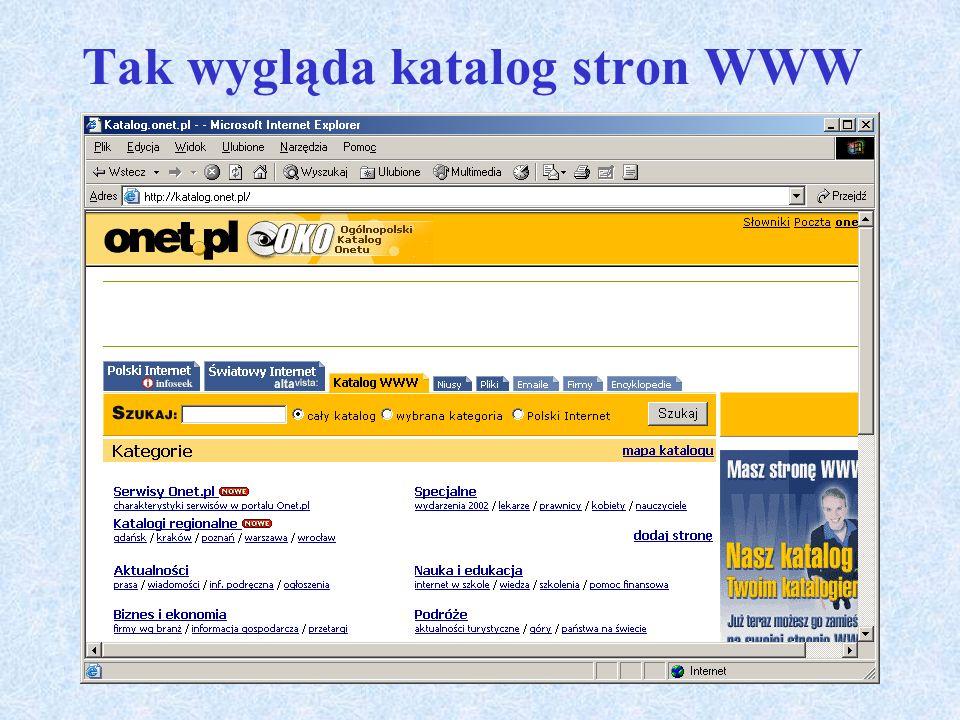 Tak wygląda katalog stron WWW