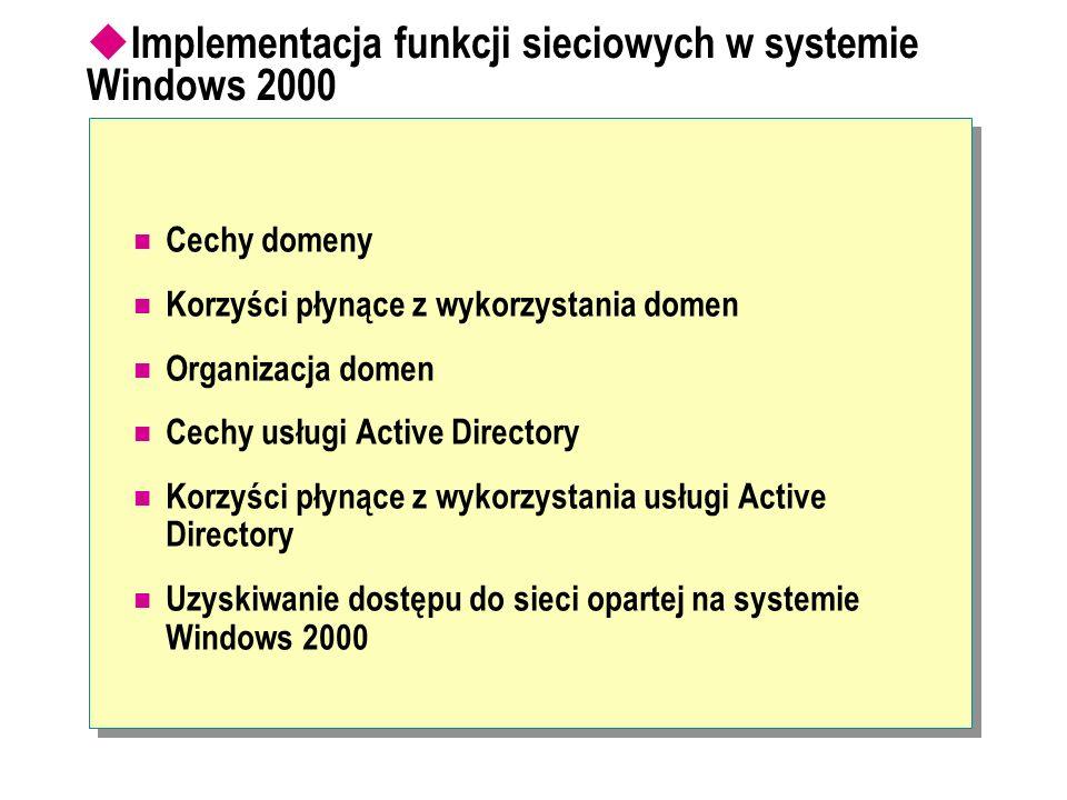 Implementacja funkcji sieciowych w systemie Windows 2000