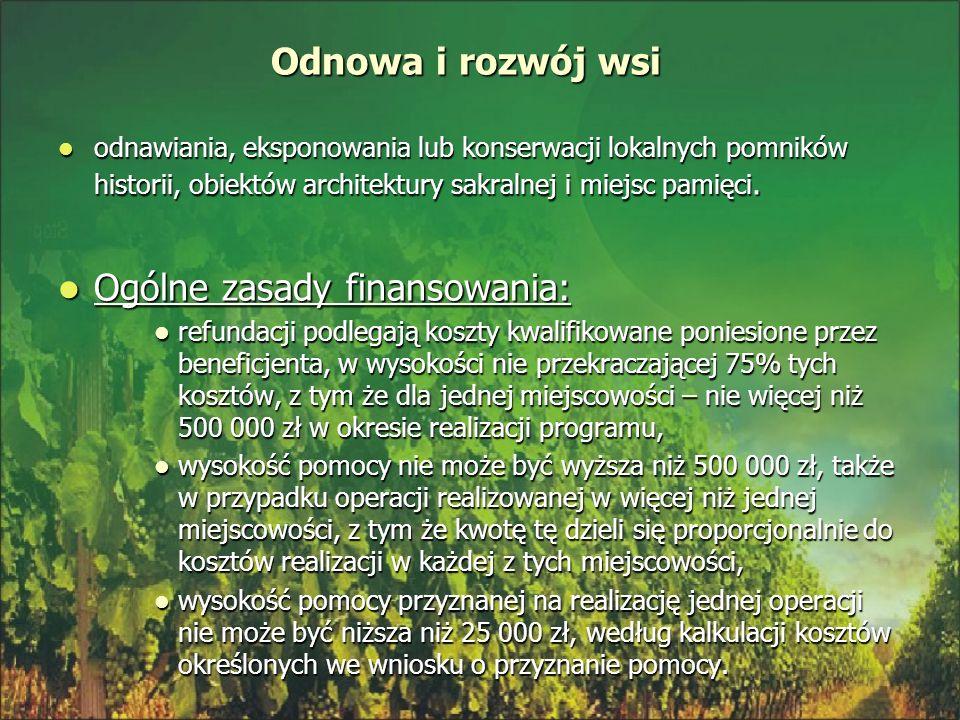 Ogólne zasady finansowania: