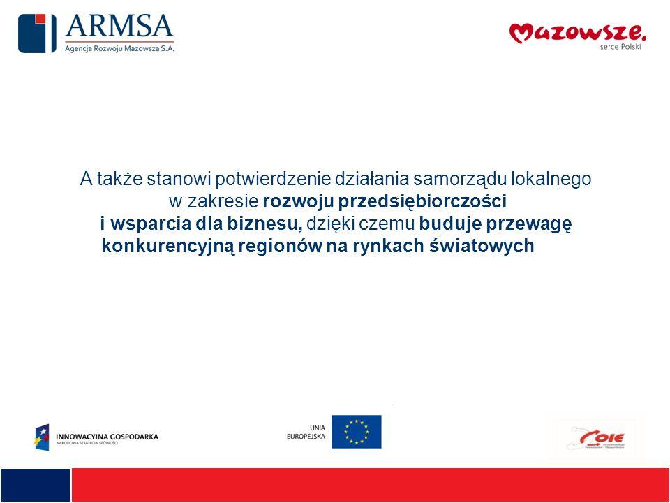A także stanowi potwierdzenie działania samorządu lokalnego w zakresie rozwoju przedsiębiorczości i wsparcia dla biznesu, dzięki czemu buduje przewagę konkurencyjną regionów na rynkach światowych