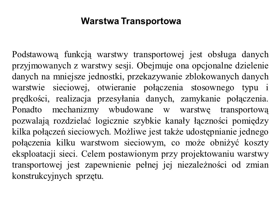 Warstwa Transportowa