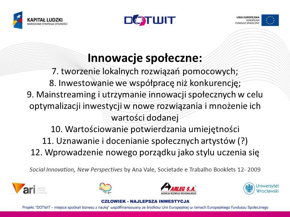 Innowacje społeczne: 7. tworzenie lokalnych rozwiązań pomocowych; 8