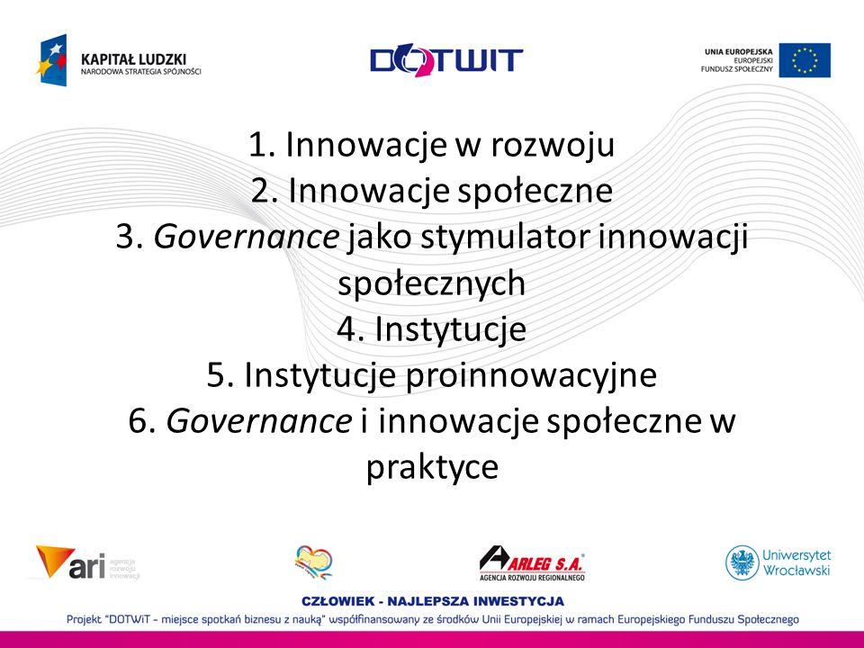1. Innowacje w rozwoju 2. Innowacje społeczne 3