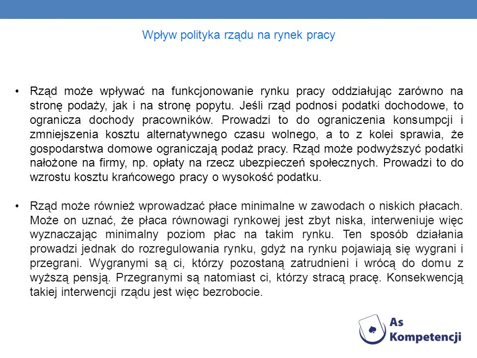 Wpływ polityka rządu na rynek pracy