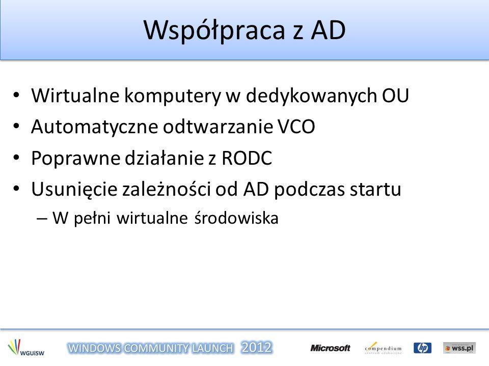 Współpraca z AD Wirtualne komputery w dedykowanych OU