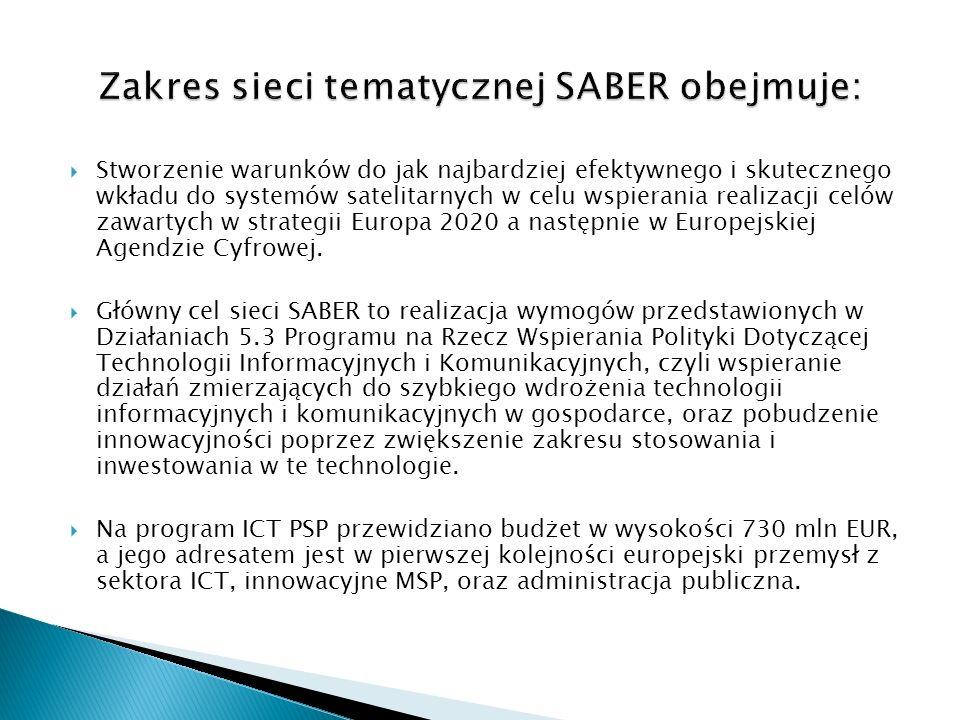 Zakres sieci tematycznej SABER obejmuje:
