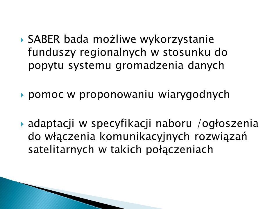 SABER bada możliwe wykorzystanie funduszy regionalnych w stosunku do popytu systemu gromadzenia danych