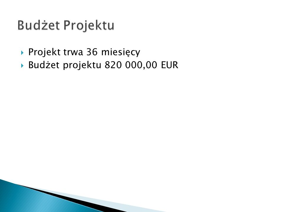 Budżet Projektu Projekt trwa 36 miesięcy