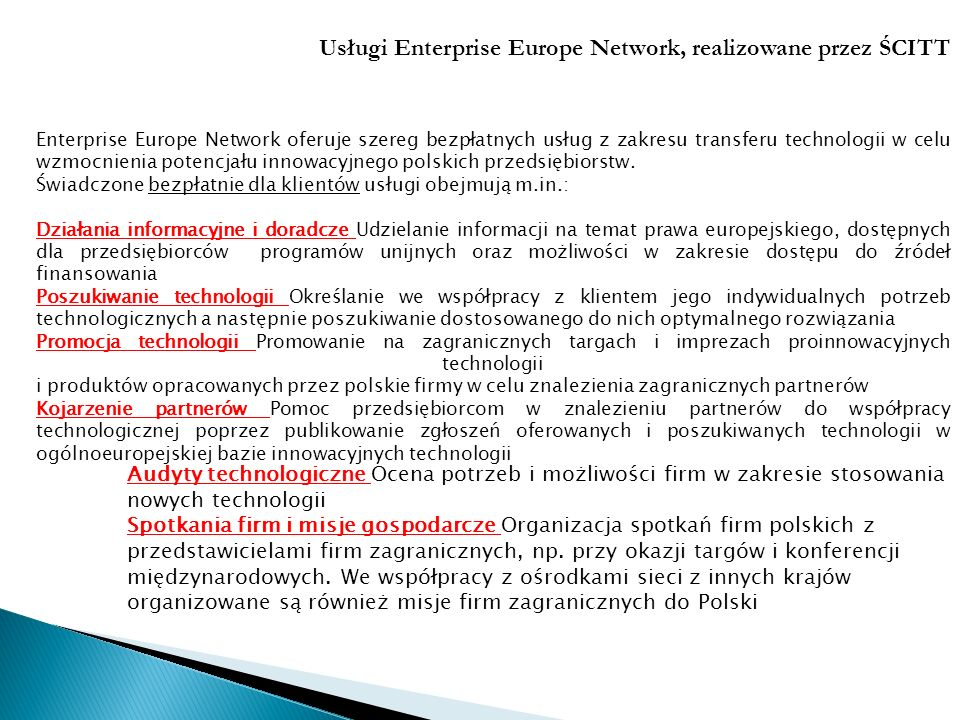 Usługi Enterprise Europe Network, realizowane przez ŚCITT